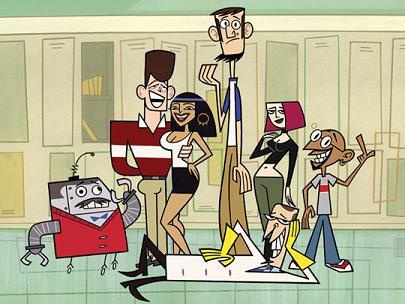 De izquierda a derecha, Mr. Butlertron, los clones de JFK, Cleopatra, Abraham Lincoln, Juana de Arco y Gandhi. Tumbado, el directorScudworth.